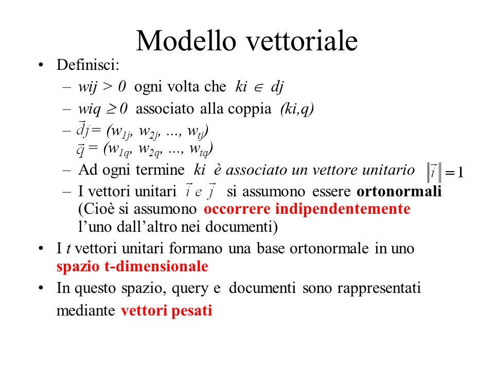 Modello vettoriale Definisci: –wij > 0 ogni volta che ki dj –wiq 0 associato alla coppia (ki,q) – = (w 1j, w 2j,..., w tj ) = (w 1q, w 2q,..., w tq ) –Ad ogni termine ki è associato un vettore unitario –I vettori unitari si assumono essere ortonormali (Cioè si assumono occorrere indipendentemente luno dallaltro nei documenti) I t vettori unitari formano una base ortonormale in uno spazio t-dimensionale In questo spazio, query e documenti sono rappresentati mediante vettori pesati