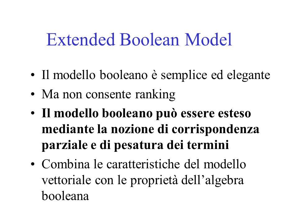 Extended Boolean Model Il modello booleano è semplice ed elegante Ma non consente ranking Il modello booleano può essere esteso mediante la nozione di corrispondenza parziale e di pesatura dei termini Combina le caratteristiche del modello vettoriale con le proprietà dellalgebra booleana