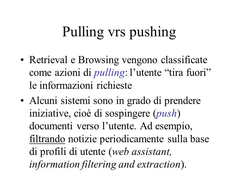 Pulling vrs pushing Retrieval e Browsing vengono classificate come azioni di pulling: lutente tira fuori le informazioni richieste Alcuni sistemi sono in grado di prendere iniziative, cioè di sospingere (push) documenti verso lutente.