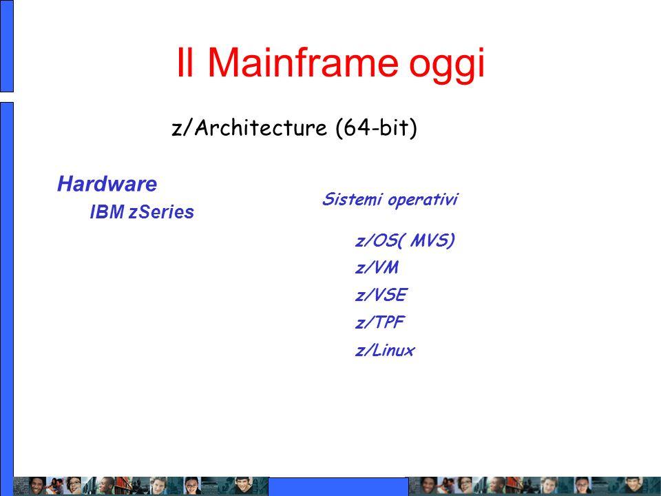 Il Mainframe oggi Hardware IBM zSeries z/ARCHITECTURE z/Architecture (64-bit) Sistemi operativi z/OS( MVS) z/VM z/VSE z/TPF z/Linux