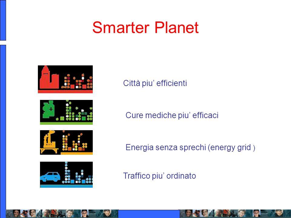 Smarter Planet Città piu efficienti Energia senza sprechi (energy grid ) Cure mediche piu efficaci Traffico piu ordinato