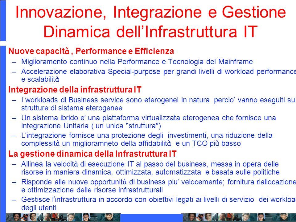 Innovazione, Integrazione e Gestione Dinamica dellInfrastruttura IT Nuove capacit à, Performance e Efficienza –Miglioramento continuo nella Performanc