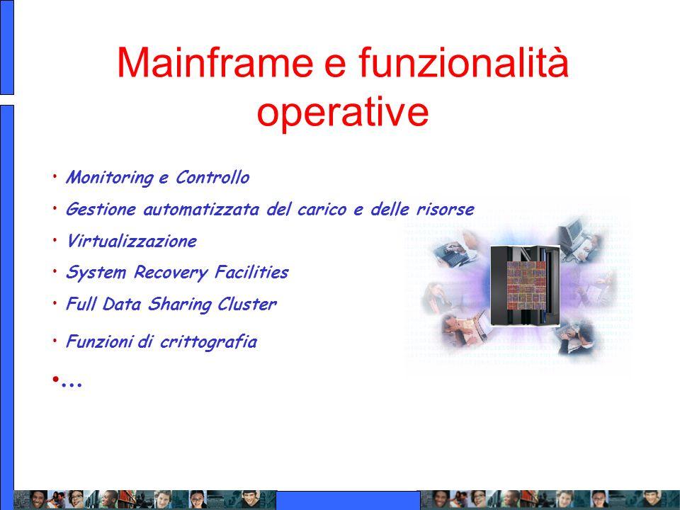 Mainframe e funzionalità operative Monitoring e Controllo Gestione automatizzata del carico e delle risorse Virtualizzazione System Recovery Facilitie