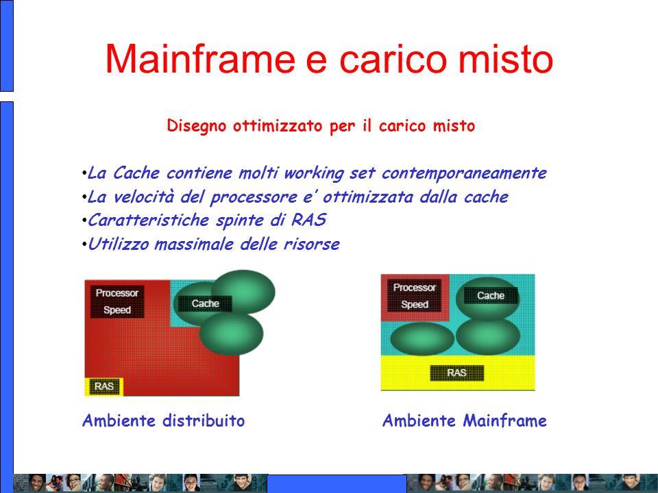 Mainframe e carico misto Disegno ottimizzato per il carico misto La Cache contiene molti working set contemporaneamente La velocità del processore e o