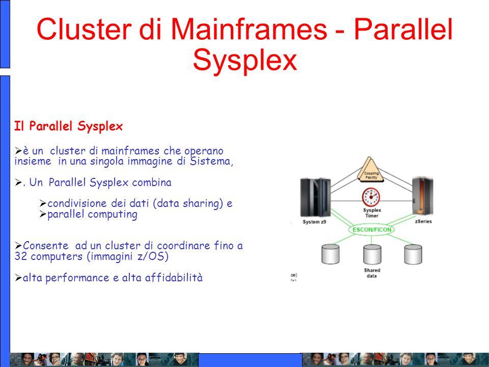 Cluster di Mainframes - Parallel Sysplex Il Parallel Sysplex è un cluster di mainframes che operano insieme in una singola immagine di Sistema,. Un Pa