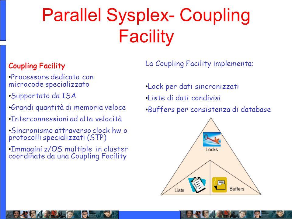 Parallel Sysplex- Coupling Facility La Coupling Facility implementa: Lock per dati sincronizzati Liste di dati condivisi Buffers per consistenza di da
