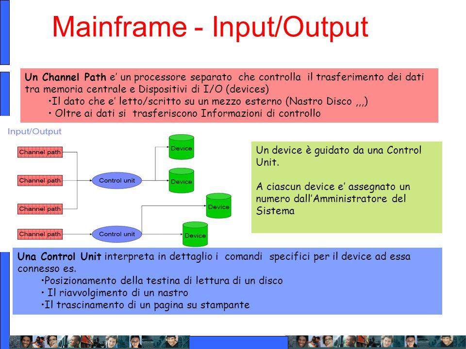 Mainframe - Input/Output Un Channel Path e un processore separato che controlla il trasferimento dei dati tra memoria centrale e Dispositivi di I/O (d