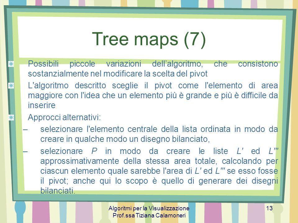 Algoritmi per la Visualizzazione Prof.ssa Tiziana Calamoneri 13 Tree maps (7) Possibili piccole variazioni dellalgoritmo, che consistono sostanzialmen