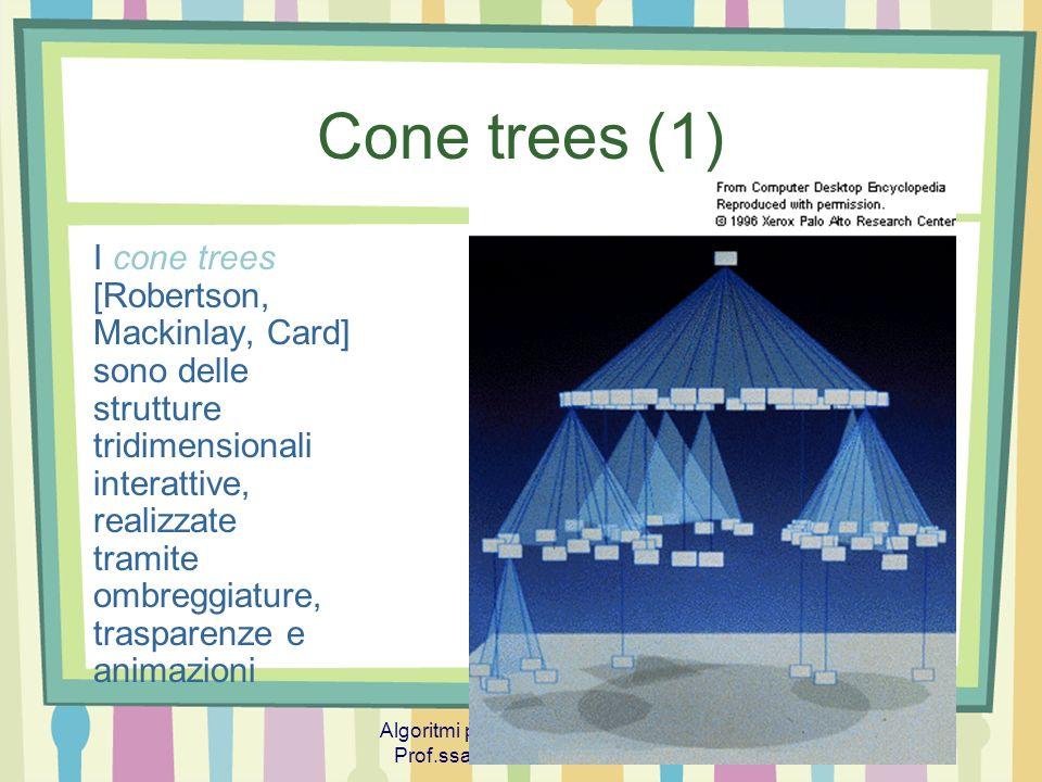 Algoritmi per la Visualizzazione Prof.ssa Tiziana Calamoneri 17 Cone trees (1) I cone trees [Robertson, Mackinlay, Card] sono delle strutture tridimen