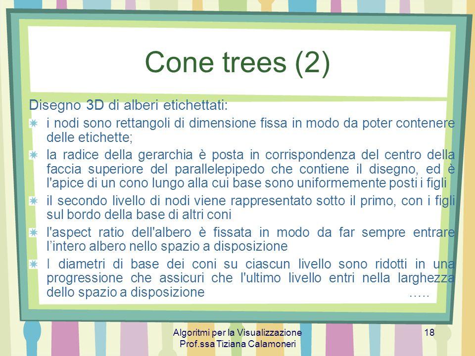 Algoritmi per la Visualizzazione Prof.ssa Tiziana Calamoneri 18 Cone trees (2) Disegno 3D di alberi etichettati: i nodi sono rettangoli di dimensione
