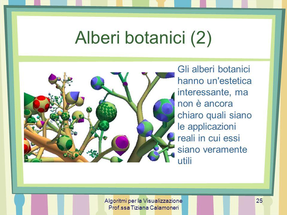 Algoritmi per la Visualizzazione Prof.ssa Tiziana Calamoneri 25 Alberi botanici (2) Gli alberi botanici hanno un'estetica interessante, ma non è ancor