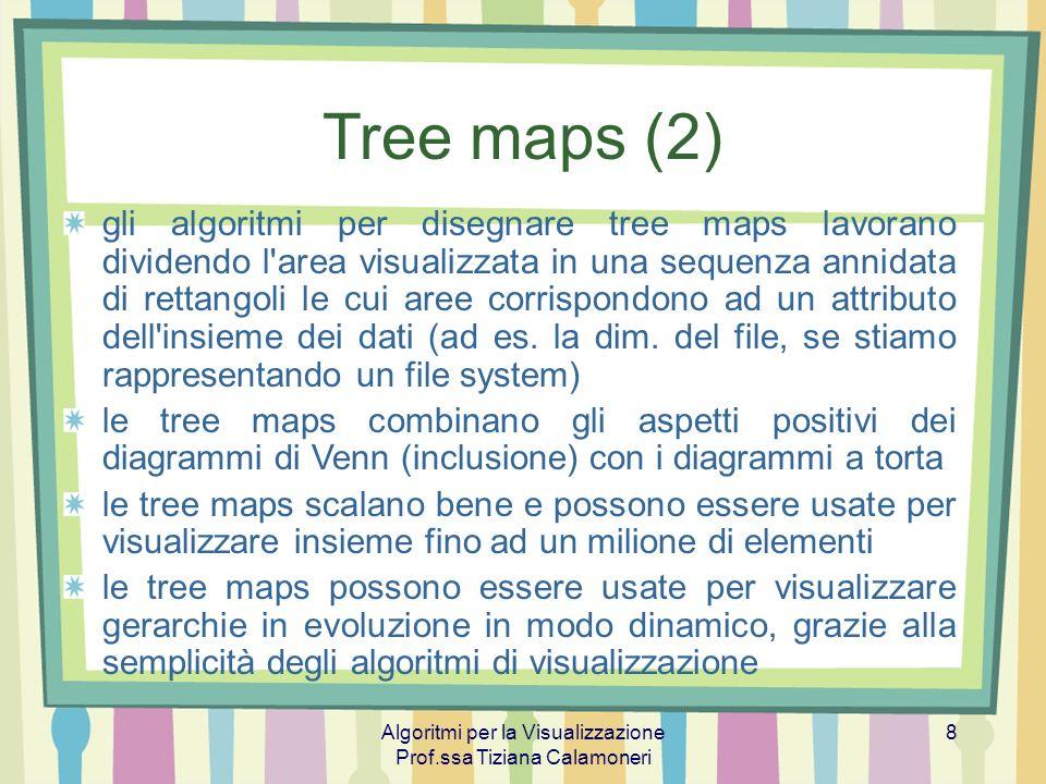 Algoritmi per la Visualizzazione Prof.ssa Tiziana Calamoneri 9 Tree maps (3) Algoritmo slice-and-dice (Shneiderman 92) Usa linee parallele per dividere un rettangolo che rappresenta un certo elemento in rettangoli che rappresentano i suoi figli Ad ogni livello della gerarchia l orientamento delle linee - orizzontale o verticale - viene cambiato Sebbene semplice da implementare, questo algoritmo produce disegni difficili da leggere, per via dei rettangoli troppo sproporzionati e quindi difficili da selezionare, confrontare in dimensione, ed etichettare.