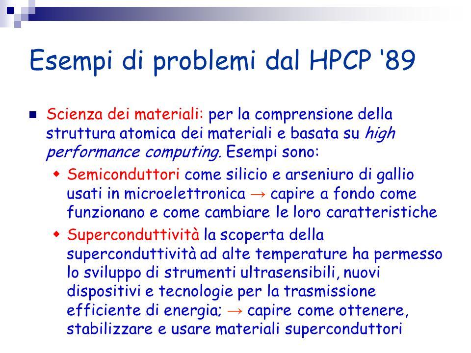 Esempi di problemi dal HPCP 89 Scienza dei materiali: per la comprensione della struttura atomica dei materiali e basata su high performance computing