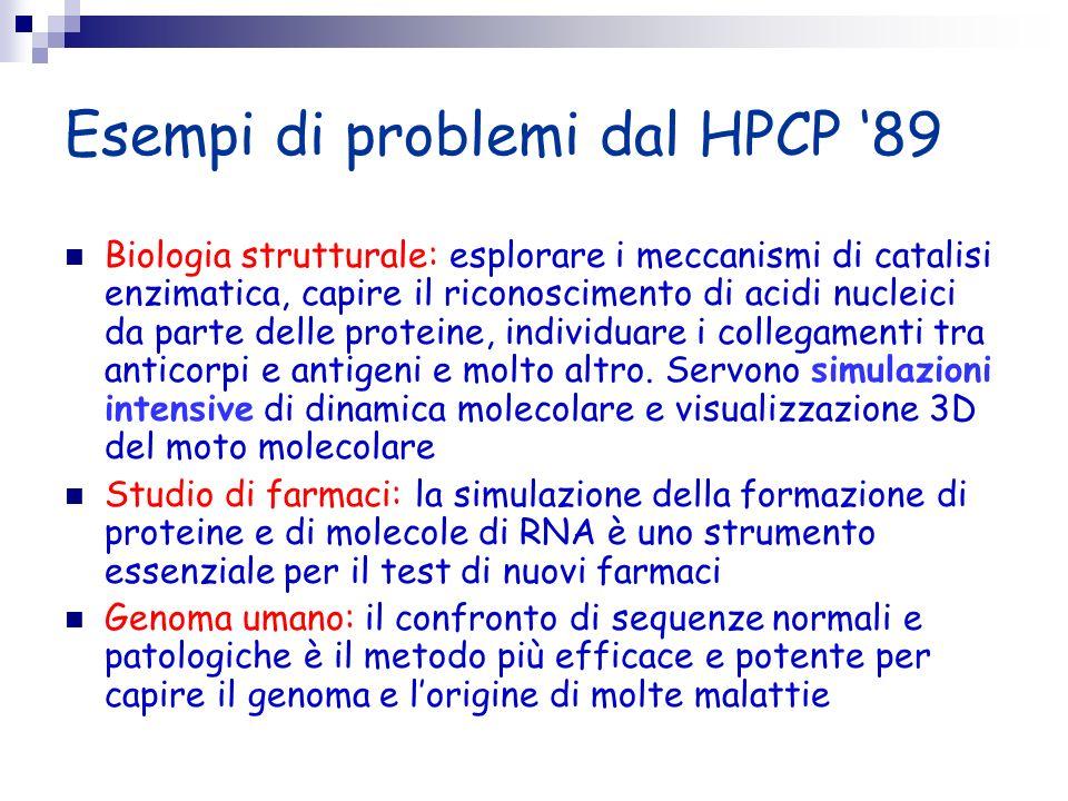 Esempi di problemi dal HPCP 89 Biologia strutturale: esplorare i meccanismi di catalisi enzimatica, capire il riconoscimento di acidi nucleici da part