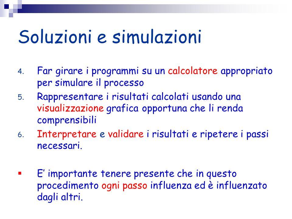 Soluzioni e simulazioni 4. Far girare i programmi su un calcolatore appropriato per simulare il processo 5. Rappresentare i risultati calcolati usando
