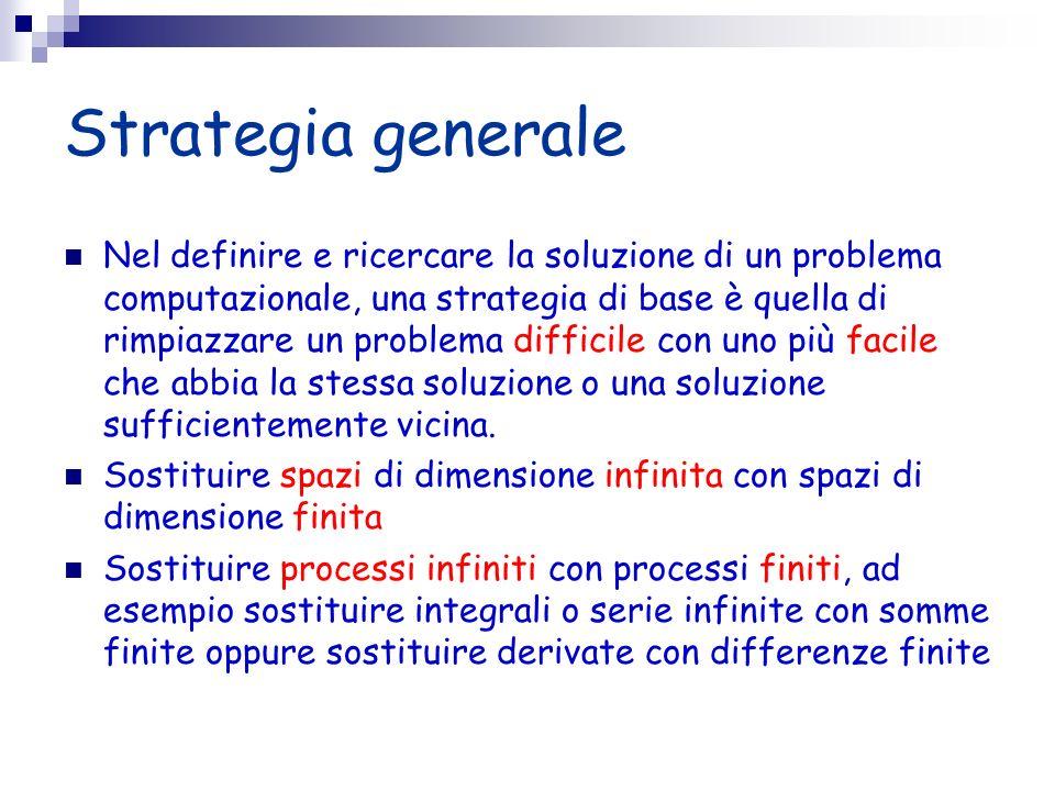 Strategia generale Nel definire e ricercare la soluzione di un problema computazionale, una strategia di base è quella di rimpiazzare un problema diff