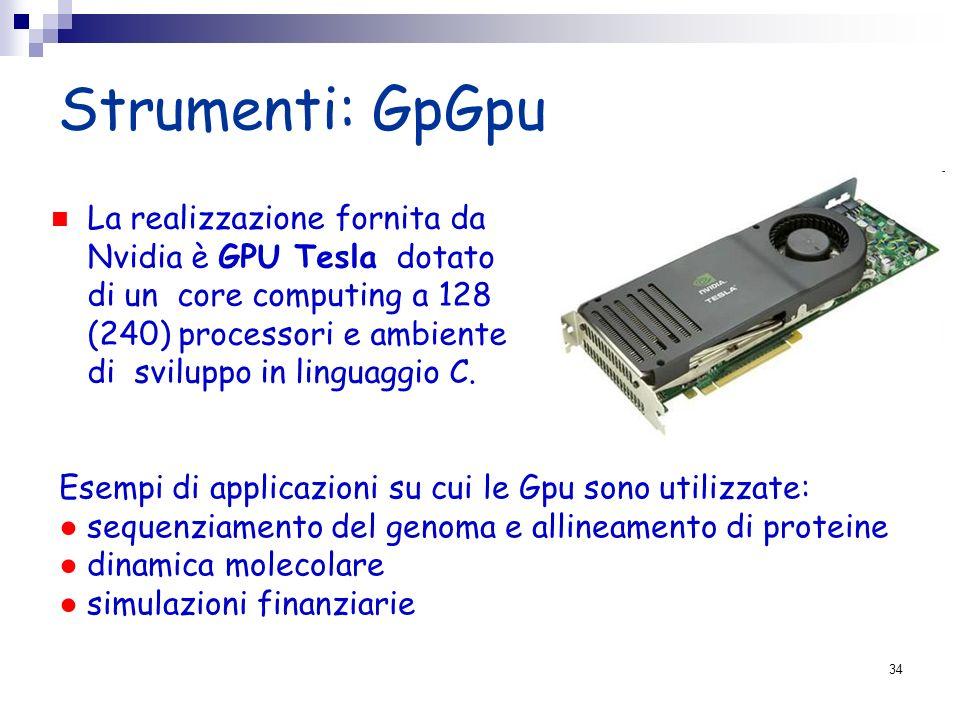 Strumenti: GpGpu La realizzazione fornita da Nvidia è GPU Tesla dotato di un core computing a 128 (240) processori e ambiente di sviluppo in linguaggi