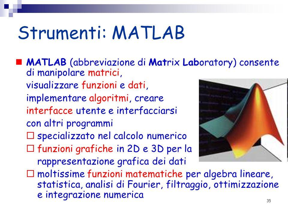 Strumenti: MATLAB MATLAB (abbreviazione di Matrix Laboratory) consente di manipolare matrici, visualizzare funzioni e dati, implementare algoritmi, cr