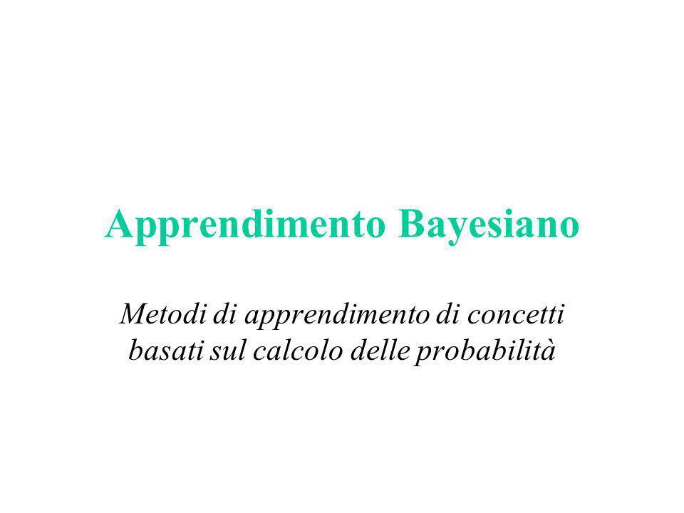 Teorema di Bayes Una formulazione alternativa della regola vista prima: Esempio lancio di un dado: – A numeri pari, P(A)=1/2 – B numero 2, P(B)=1/6 – AB=(2), P(A B)=1/6