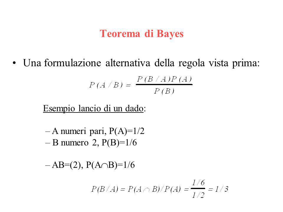 Probabilità condizionali P(A/B): probabilità di un evento A supponendo verificato levento B Es: A= Pr(studente segue IUM) B= Pr(studente segue AA) AB