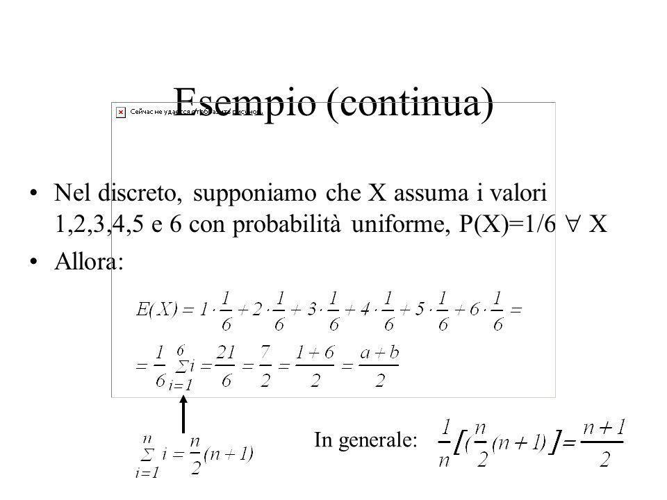 Esempi Se X è uniformemente distribuita in [a,b], E(X)=(b-a)/2
