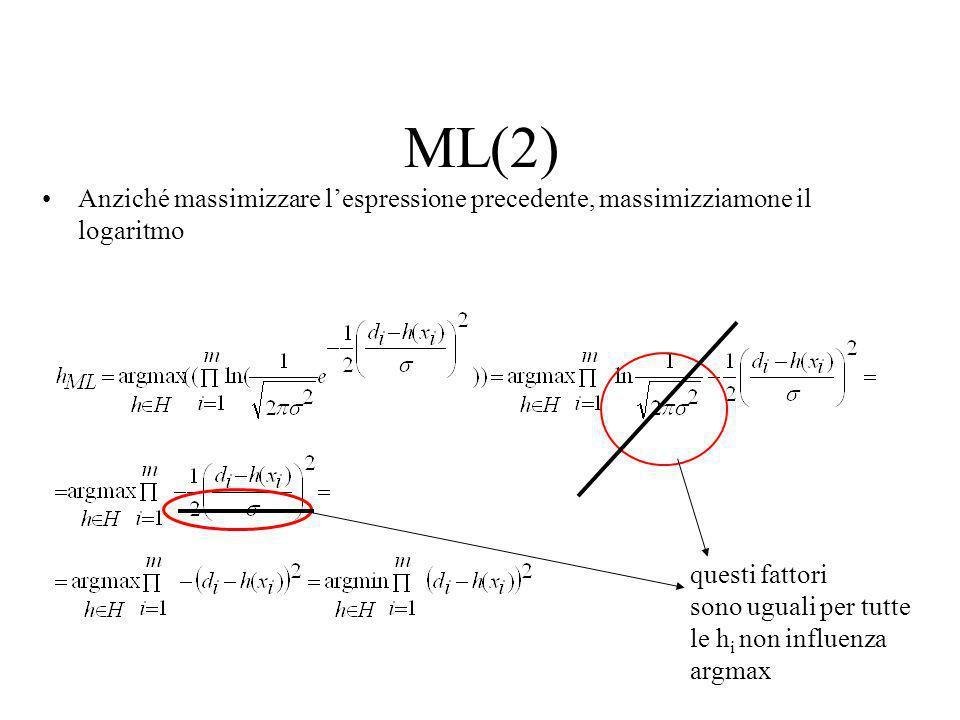 Ipotesi ML con rumore Gaussiano =c(x i ) densità di probabilità (variabile aleatoria continua!!) Dato che gli esempi sono estratti in modo indipendent