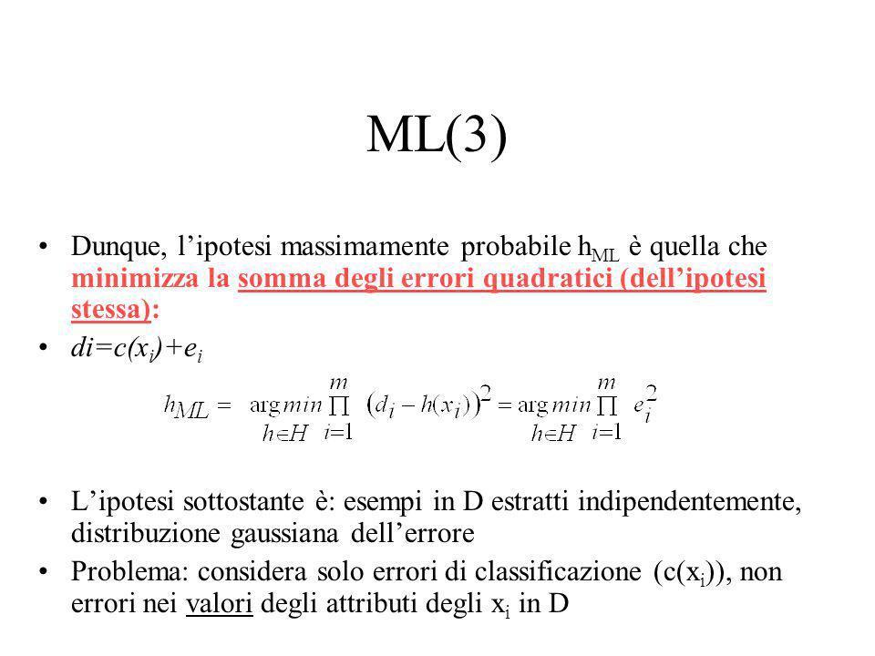 ML(2) Anziché massimizzare lespressione precedente, massimizziamone il logaritmo questi fattori sono uguali per tutte le h i non influenza argmax