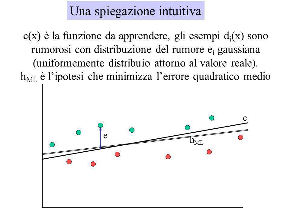 ML(3) Dunque, lipotesi massimamente probabile h ML è quella che minimizza la somma degli errori quadratici (dellipotesi stessa): di=c(x i )+e i Lipote
