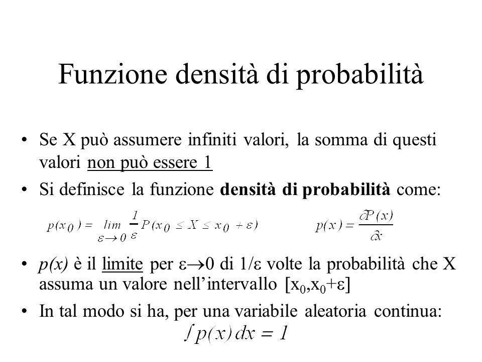 Funzione densità di probabilità Se X può assumere infiniti valori, la somma di questi valori non può essere 1 Si definisce la funzione densità di probabilità come: p(x) è il limite per di 1/ volte la probabilità che X assuma un valore nellintervallo x 0,x 0 + In tal modo si ha, per una variabile aleatoria continua: