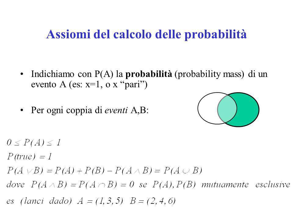 Assiomi del calcolo delle probabilità Indichiamo con P(A) la probabilità (probability mass) di un evento A (es: x=1, o x pari) Per ogni coppia di eventi A,B: