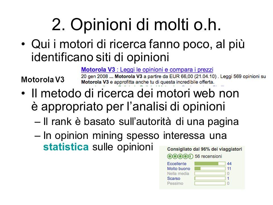 2. Opinioni di molti o.h. Qui i motori di ricerca fanno poco, al più identificano siti di opinioni Motorola V3 Il metodo di ricerca dei motori web non
