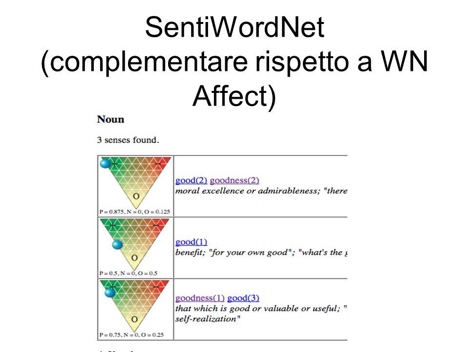 SentiWordNet (complementare rispetto a WN Affect)