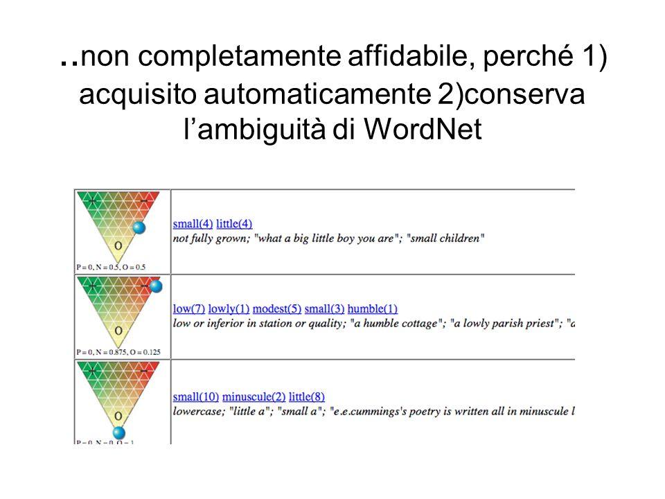 .. non completamente affidabile, perché 1) acquisito automaticamente 2)conserva lambiguità di WordNet