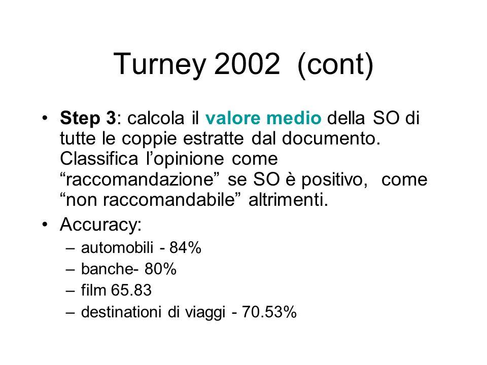 Turney 2002 (cont) Step 3: calcola il valore medio della SO di tutte le coppie estratte dal documento. Classifica lopinione come raccomandazione se SO