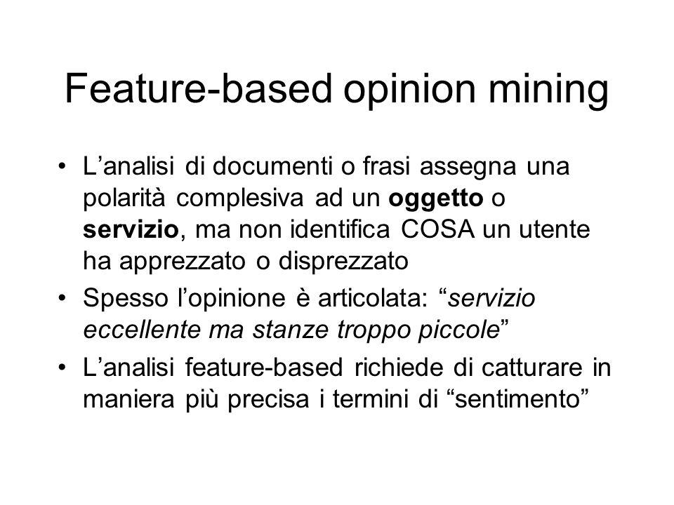 Feature-based opinion mining Lanalisi di documenti o frasi assegna una polarità complesiva ad un oggetto o servizio, ma non identifica COSA un utente
