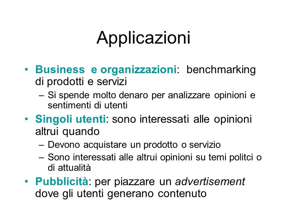 Applicazioni Business e organizzazioni: benchmarking di prodotti e servizi –Si spende molto denaro per analizzare opinioni e sentimenti di utenti Sing