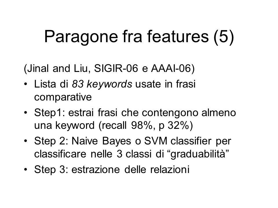 Paragone fra features (5) (Jinal and Liu, SIGIR-06 e AAAI-06) Lista di 83 keywords usate in frasi comparative Step1: estrai frasi che contengono almen