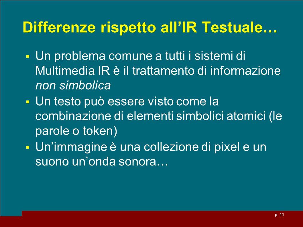 p. 11 Differenze rispetto allIR Testuale… Un problema comune a tutti i sistemi di Multimedia IR è il trattamento di informazione non simbolica Un test