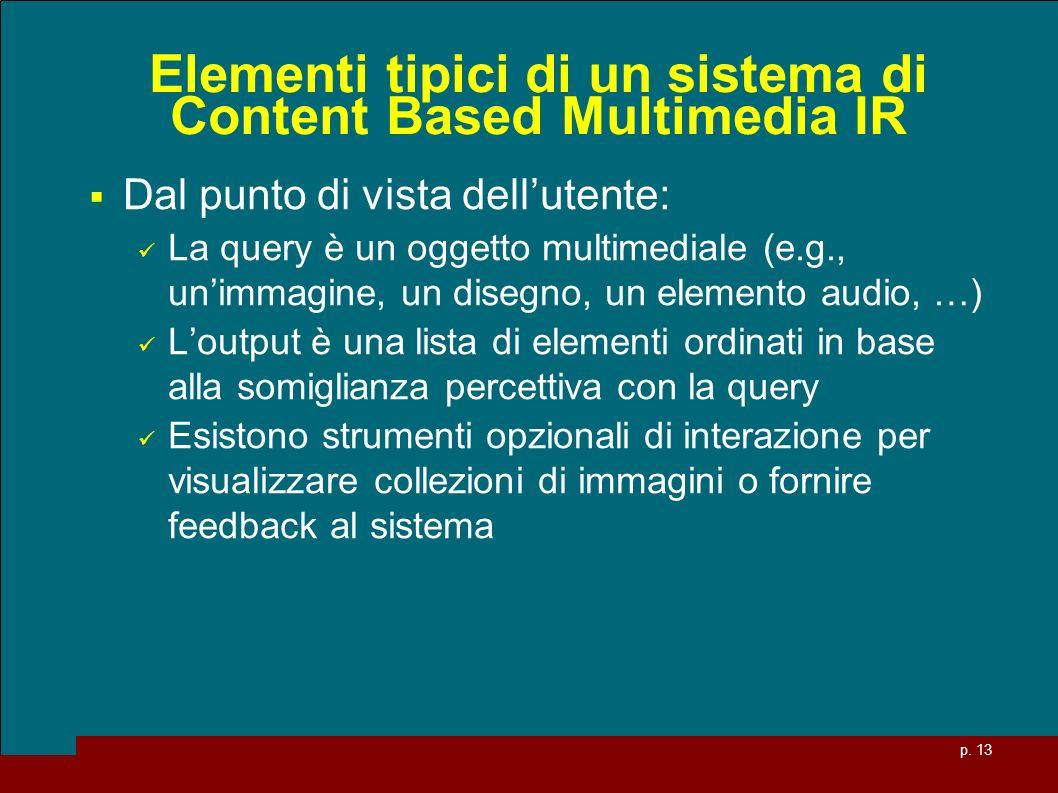 p. 13 Elementi tipici di un sistema di Content Based Multimedia IR Dal punto di vista dellutente: La query è un oggetto multimediale (e.g., unimmagine