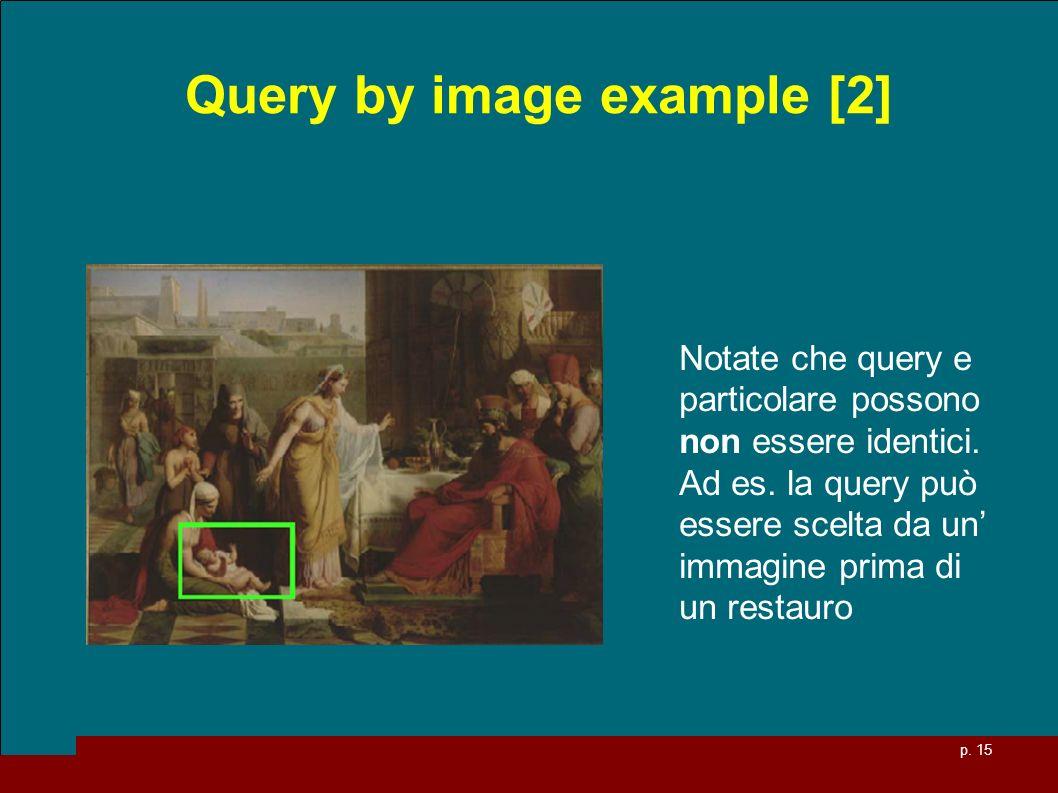 p. 15 Query by image example [2] Notate che query e particolare possono non essere identici.