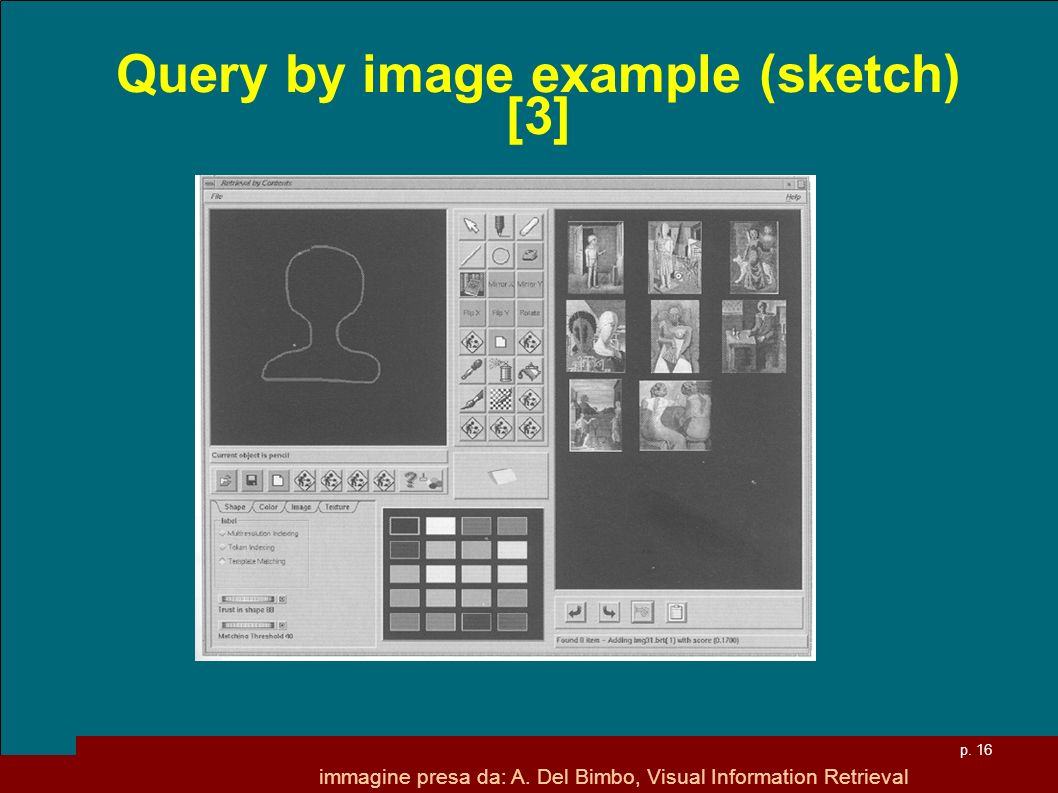 p. 16 Query by image example (sketch) [3] immagine presa da: A.