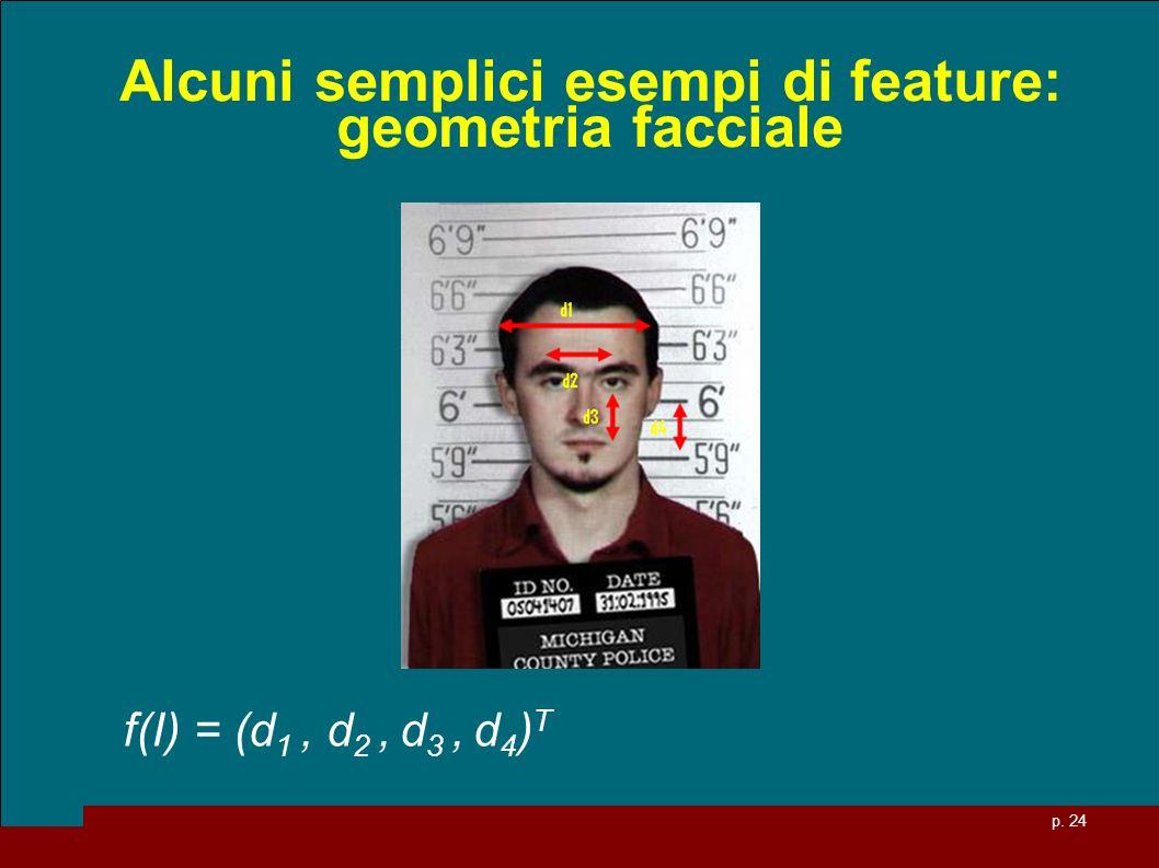 p. 24 Alcuni semplici esempi di feature: geometria facciale f(I) = (d 1, d 2, d 3, d 4 ) T