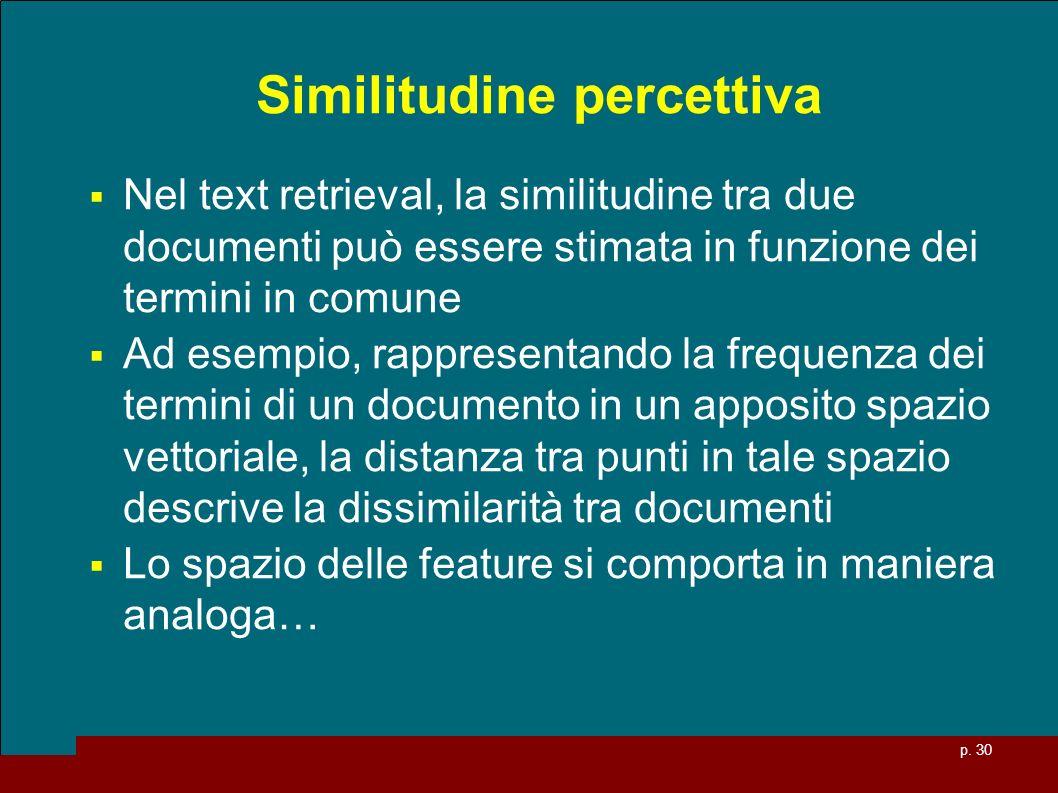 p. 30 Similitudine percettiva Nel text retrieval, la similitudine tra due documenti può essere stimata in funzione dei termini in comune Ad esempio, r