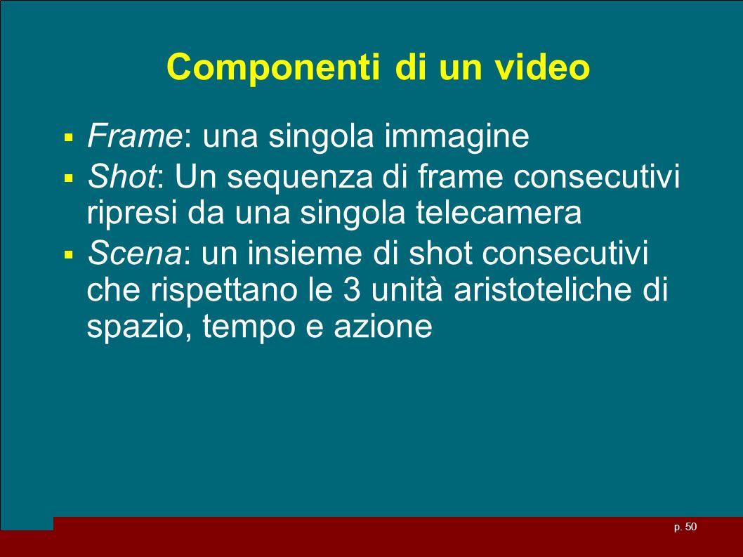 p. 50 Componenti di un video Frame: una singola immagine Shot: Un sequenza di frame consecutivi ripresi da una singola telecamera Scena: un insieme di