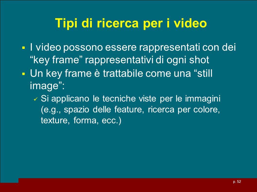 p. 52 Tipi di ricerca per i video I video possono essere rappresentati con dei key frame rappresentativi di ogni shot Un key frame è trattabile come u
