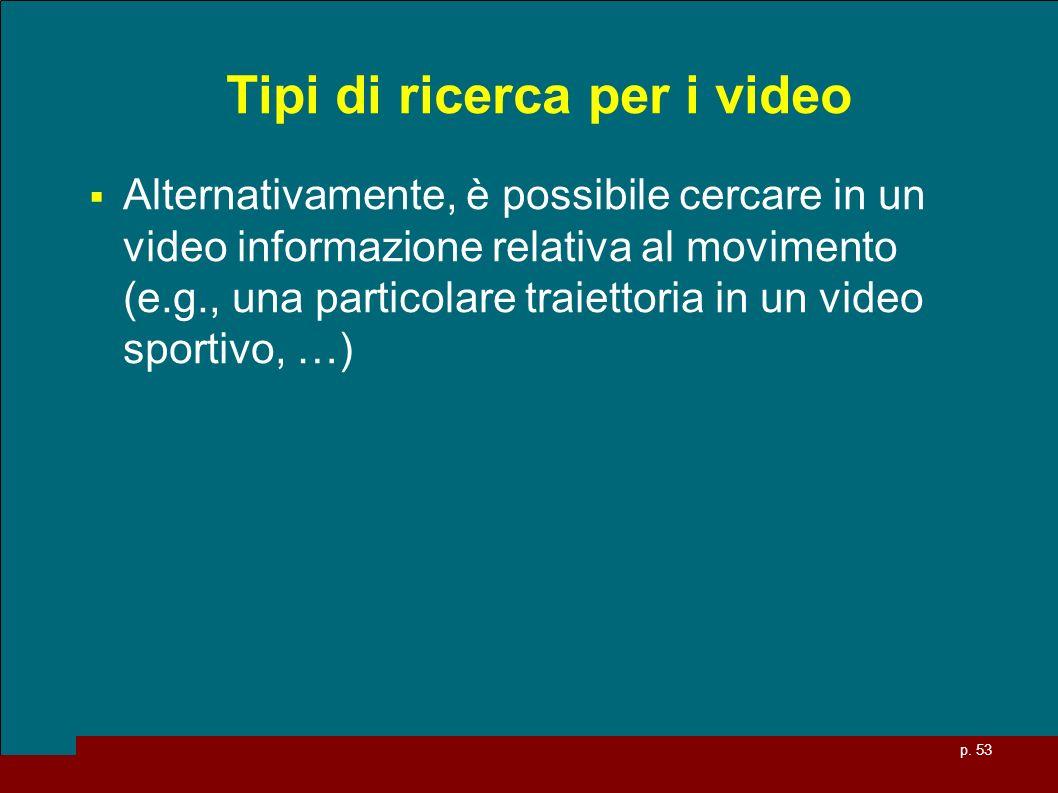 p. 53 Tipi di ricerca per i video Alternativamente, è possibile cercare in un video informazione relativa al movimento (e.g., una particolare traietto