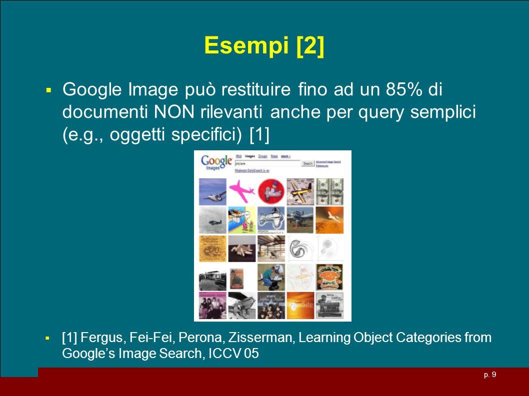 p. 9 Esempi [2] Google Image può restituire fino ad un 85% di documenti NON rilevanti anche per query semplici (e.g., oggetti specifici) [1] [1] Fergu
