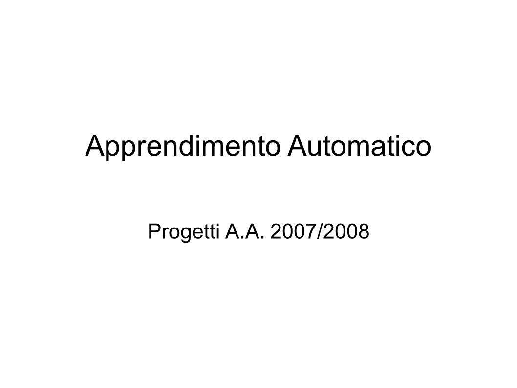 Progetto 5: Elementi di Valutazione Rappresentazione degli agenti Scelta dellalgoritmo di apprendimento Valutazione del modello appreso Fantasia!