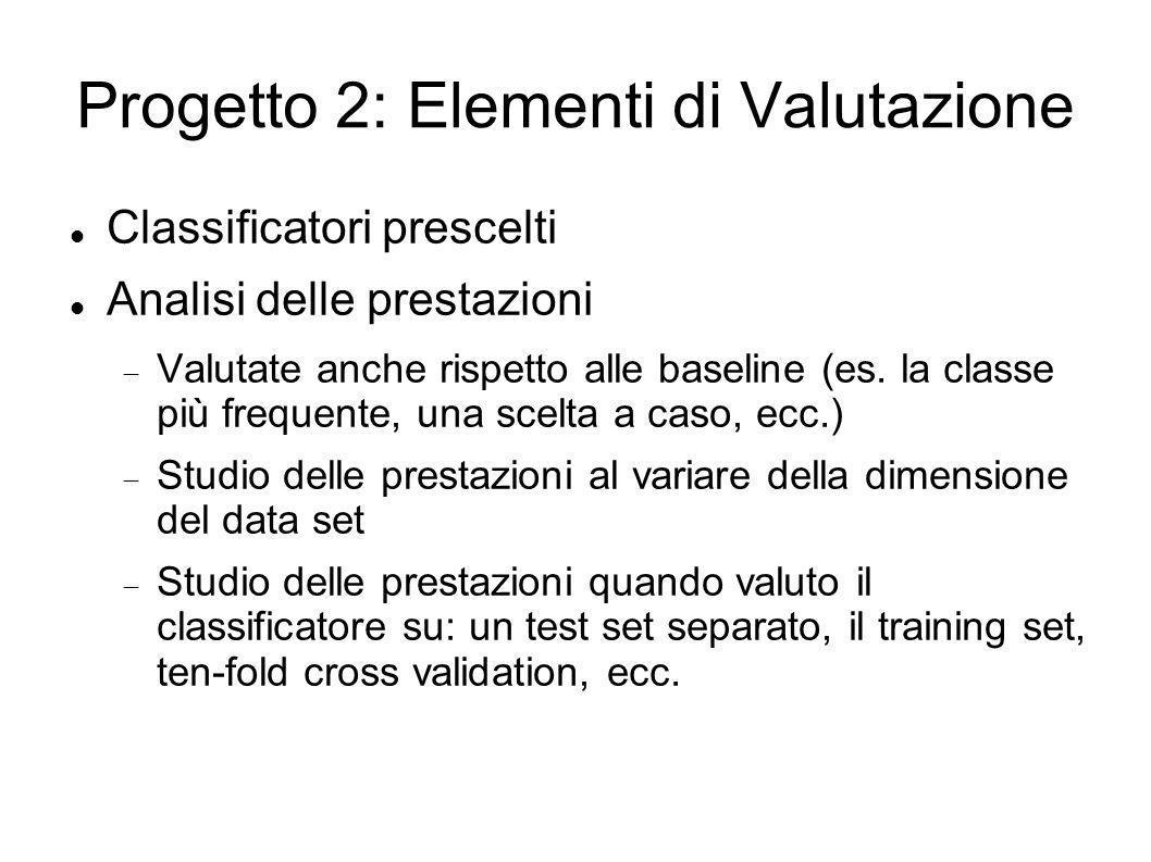 Progetto 2: Elementi di Valutazione Classificatori prescelti Analisi delle prestazioni Valutate anche rispetto alle baseline (es. la classe più freque