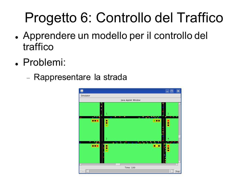 Progetto 6: Controllo del Traffico Apprendere un modello per il controllo del traffico Problemi: Rappresentare la strada